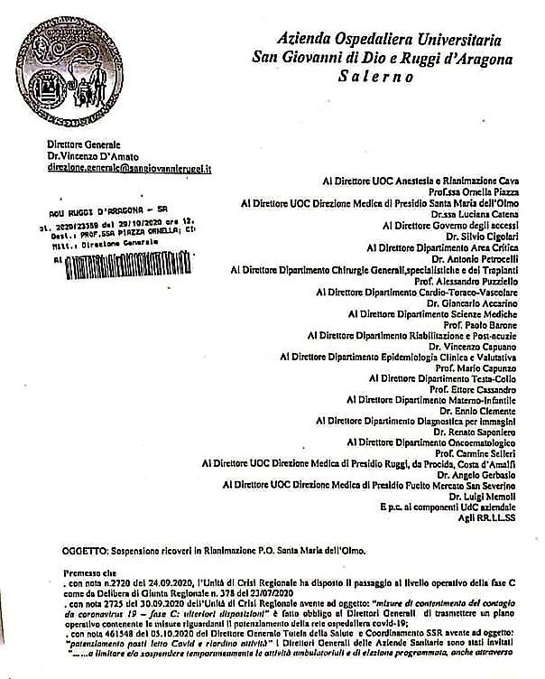 Cava |  Asl sospende ricoveri in rianimazione |  medici a Salerno